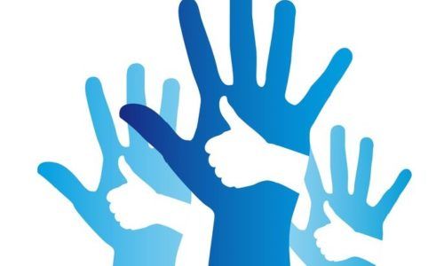 11618585 - blue good and open hands sign over white background. vector